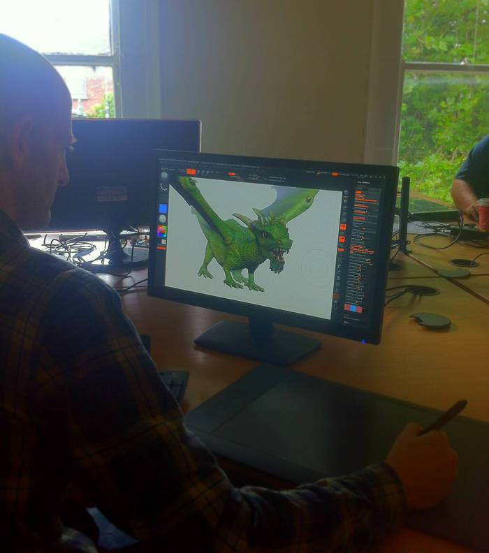 Eoin working on the new look Relax & Race Dragon app